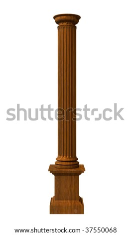 3d rendered illustration from a part of a wood column - stock photo