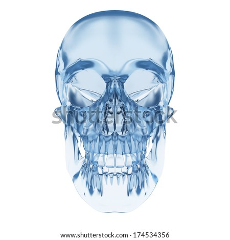 3d rendered illustration - human skull made of glass