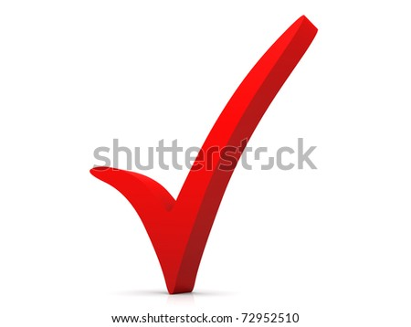 3D rendered Illustration. Isolated on white. A red checkmark. - stock photo