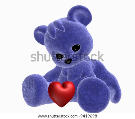 3d rendered illustration of a blue teddy bear with a red valentine heart - stock photo