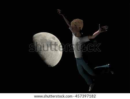 3d rendered illustration of a boy flying over the moon