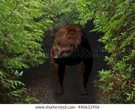 3d rendered illustration of a brown bear emerging from his den