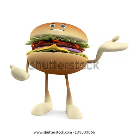 3d rendered illustration of a burger character - stock photo