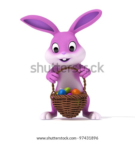 3d rendered illustration of a cute pink easter bunny