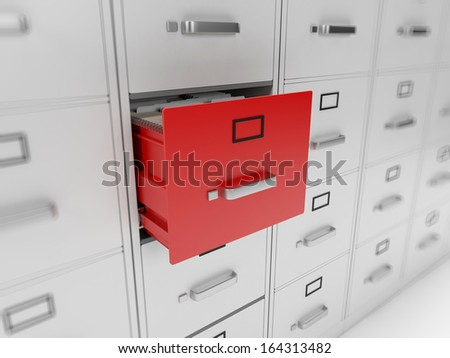 3d rendered illustration of a filing cabinet - stock photo