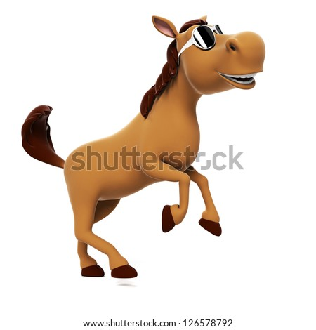 3d rendered illustration of a funny horse