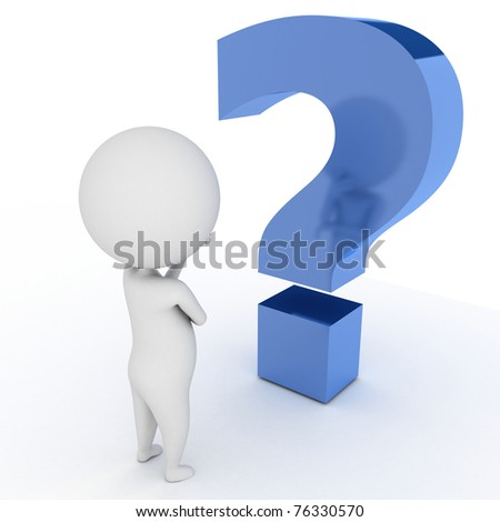 3d rendered illustration of a little guy infront of a question mark