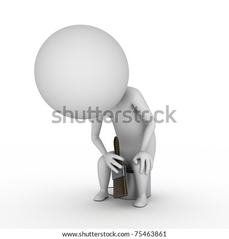 3d rendered illustration of a little guy with a brush