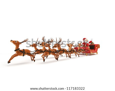 3d rendered illustration of a little santa and its sleigh - stock photo