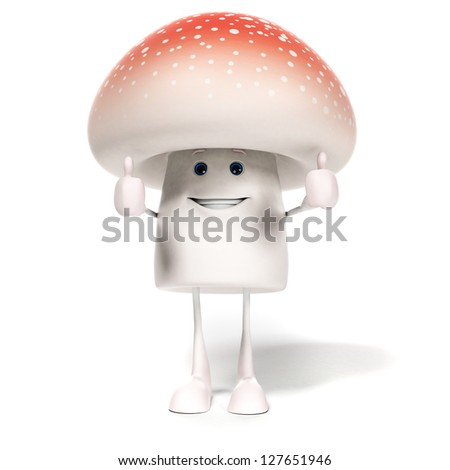 3d rendered illustration of a mushroom character