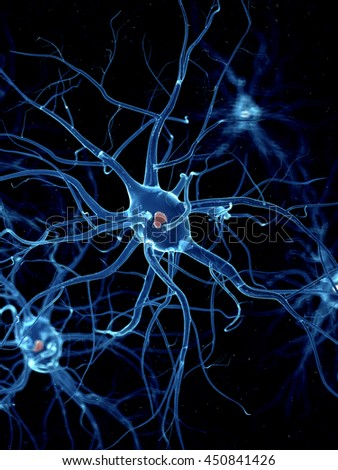 3d rendered illustration of a nerve cell - stock photo