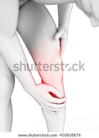3d rendered illustration of a painful knee - stock photo