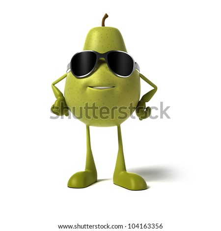 3d rendered illustration of a pear character - stock photo