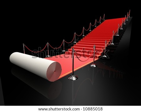 3d rendered illustration of a red carpet - stock photo