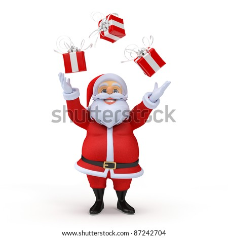 3d rendered illustration of a santa claus juggling with presents - stock photo