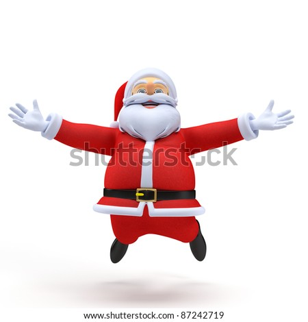 3d rendered illustration of a santa claus jumping - stock photo