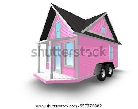 3D Rendered Illustration Of A Tiny House On Trailer Is Isolated