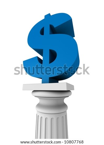 3d rendered illustration of a white column and a blue dollar sign - stock photo