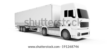 3d rendered illustration of a white truck - stock photo