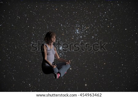 3d rendered illustration of a woman in a yoga pose with a background of stars
