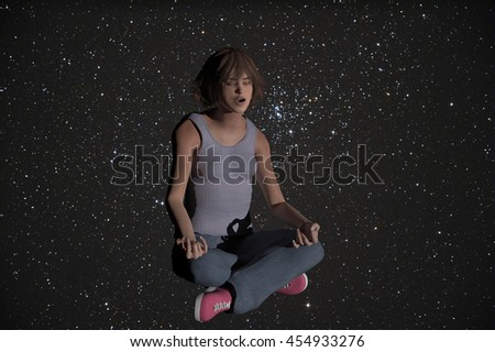 3d rendered illustration of a woman in the lotus yoga position with a starry background