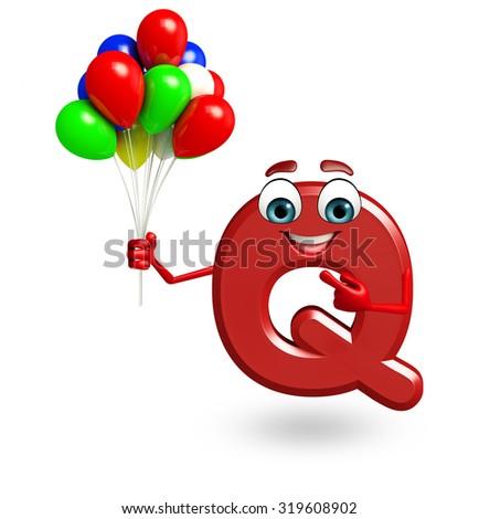 3d rendered illustration of alphabet Q Cartoon Character with balloons