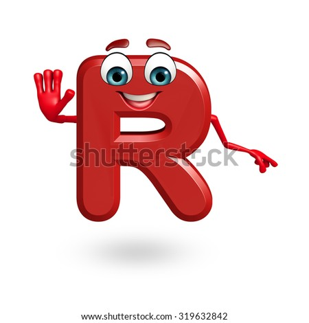 3d rendered illustration of alphabet R Cartoon Character