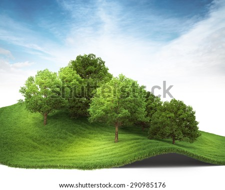3d rendered illustration of an hill with grove. Isolate on white background - stock photo