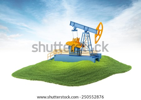 3d rendered illustration of an island with pump jack floating in the air on sky background - stock photo