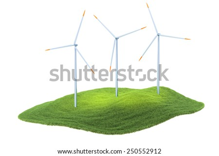 3d rendered illustration of an island with wind turbines floating in the air isolate on white background - stock photo
