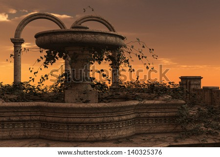 3D rendered illustration of ancient ruins of fountain on sunset - stock photo