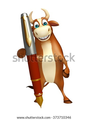 3d rendered illustration of Bull cartoon character with pen