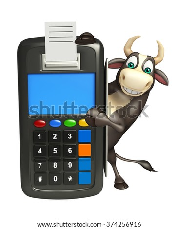 3d rendered illustration of Bull cartoon character with swap machine