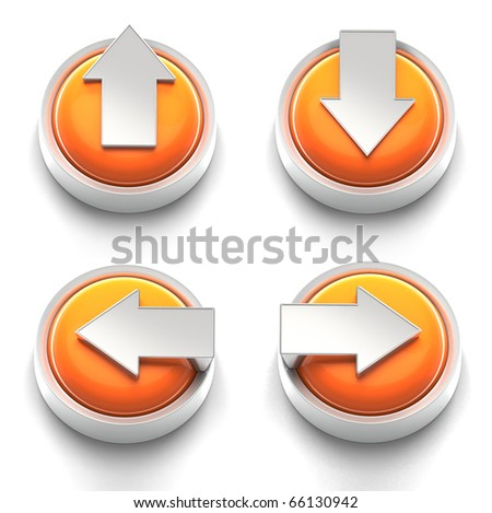 3D rendered illustration of button icon set  featuring directional arrows - stock photo