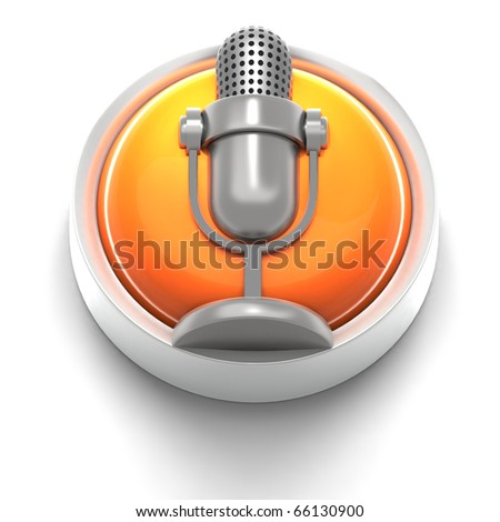 3D rendered illustration of button icon with Mic symbol - stock photo