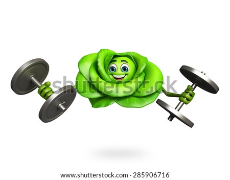 3d rendered illustration of cartoon character of cabbage