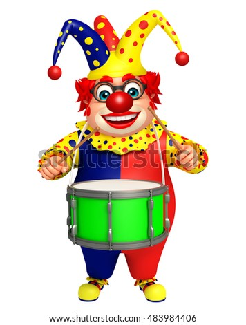 3d rendered illustration of Clown with Drum