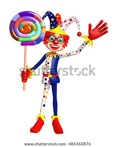 3d rendered illustration of Clown with lollipop