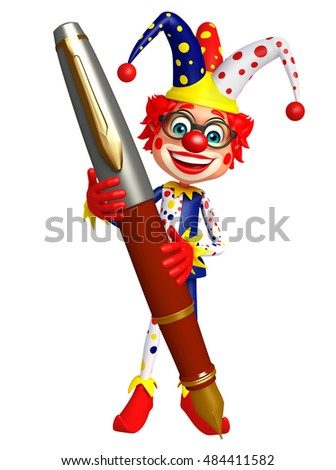 3d rendered illustration of Clown with Pen