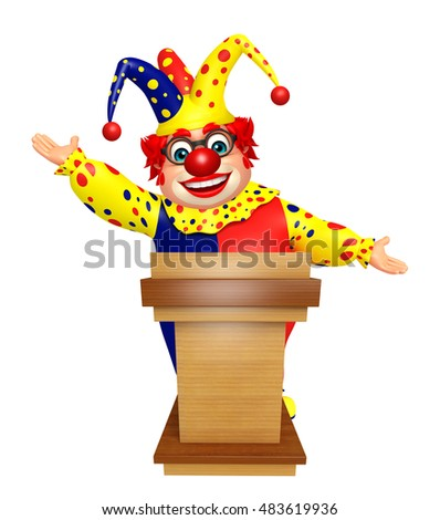 3d rendered illustration of Clown with Speech stage