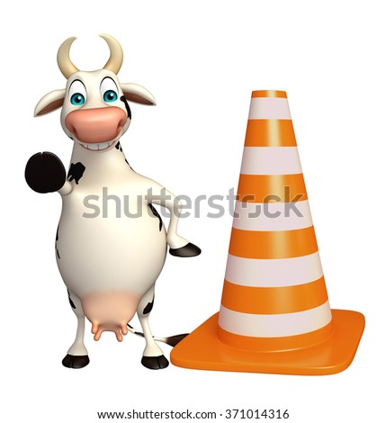 3d rendered illustration of Cow cartoon character with construction cone  - stock photo