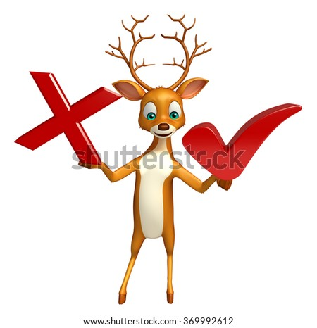 3d rendered illustration of Deer cartoon character with wrong sign and right sign - stock photo