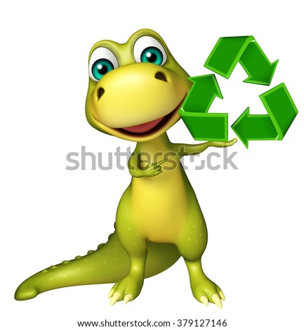 3d rendered illustration of Dinosaur cartoon character with recycle sign