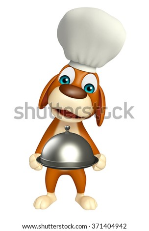 3d rendered illustration of Dog cartoon character with chef hat and cloche