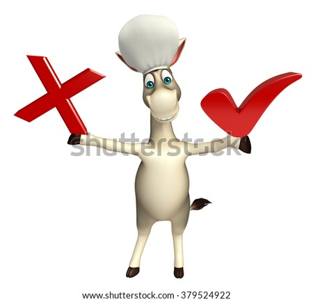 3d rendered illustration of Donkey cartoon character with right sign and wrong sign - stock photo