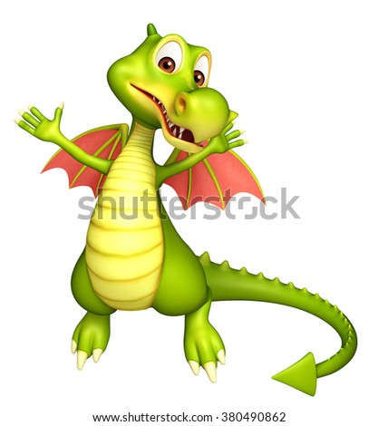 3d rendered illustration of Dragon funny cartoon character