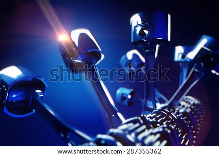 3d rendered illustration of engine pistons and cog wheels with depth of field effect - stock photo