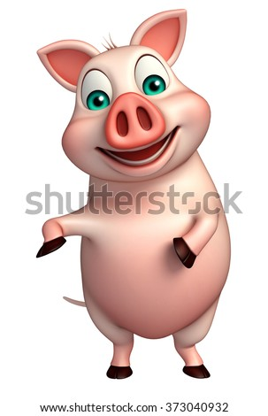 3d rendered illustration of funny Pig cartoon character