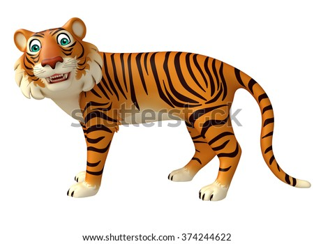 3d rendered illustration of funny Tiger cartoon character