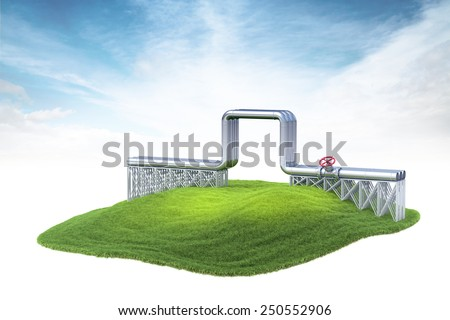 3d rendered illustration of gas or oil pipeline floating in the air on sky background - stock photo